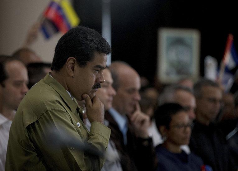 Президент Венесуэлы Николас Мадуро на траурном мероприятии
