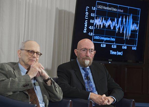 Основатели LIGO Кип Торн и Райнер Вайсс на презентации своего открытия