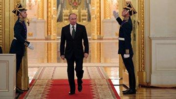 Президент РФ Владимир Путин во время ежегодного торжественного приёма в Кремле