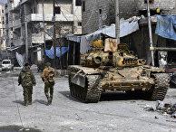 Сирийские солдаты в захваченных территориях в восточной части Алеппо