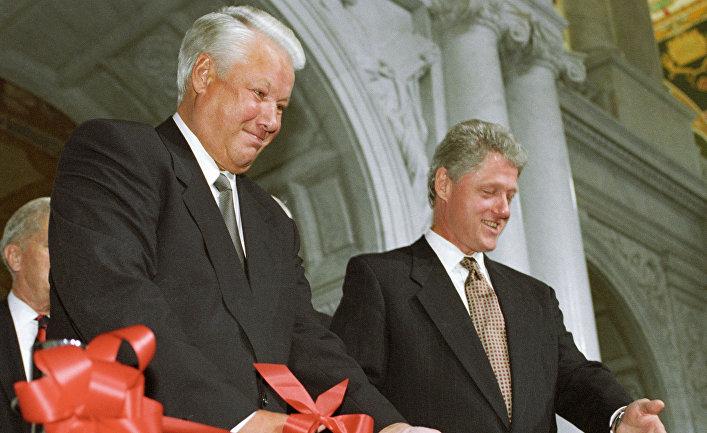 Ельцин и Клинтон открывают выставку