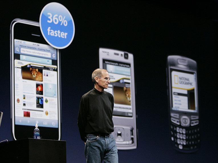 Стив Джобс презентует Apple iPhone с поддержкой 3G
