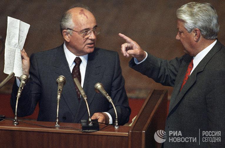 Горбачев и Ельцин на внеочередной сессии ВС РСФСР