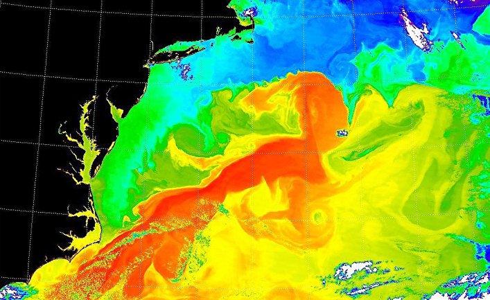 Изображение восточного побережья США и течений Гольфстрима