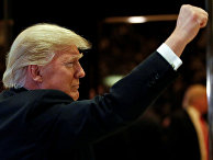 Избранный президент США Дональд Трамп в фойе башни Трампа