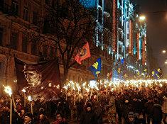 Марш активистов партии «Свобода» в Киеве в честь 108-й годовщины со дня рождения Степана Бандеры, 1 января 2017