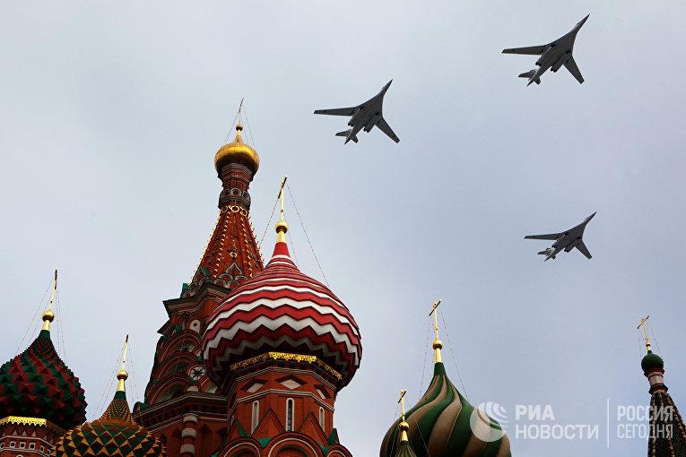 Пролет военной авиации над Красной площадью в преддверии Парада Победы