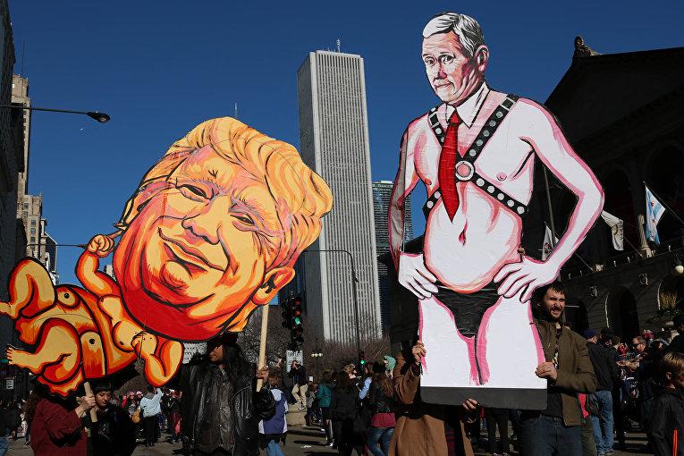 Акция протеста в Чикаго