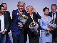 Лидер политической партии «Национальный фронт» Марин Ле Пен и лидер нидерландской партии за свободу Герт Вилдерс в Германии.