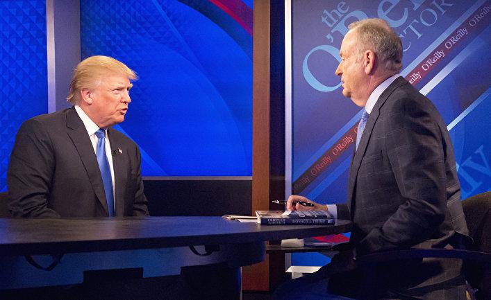 Телеведущий Билл О'Рейли и Дональд Трамп во время интервью на канале Fox News