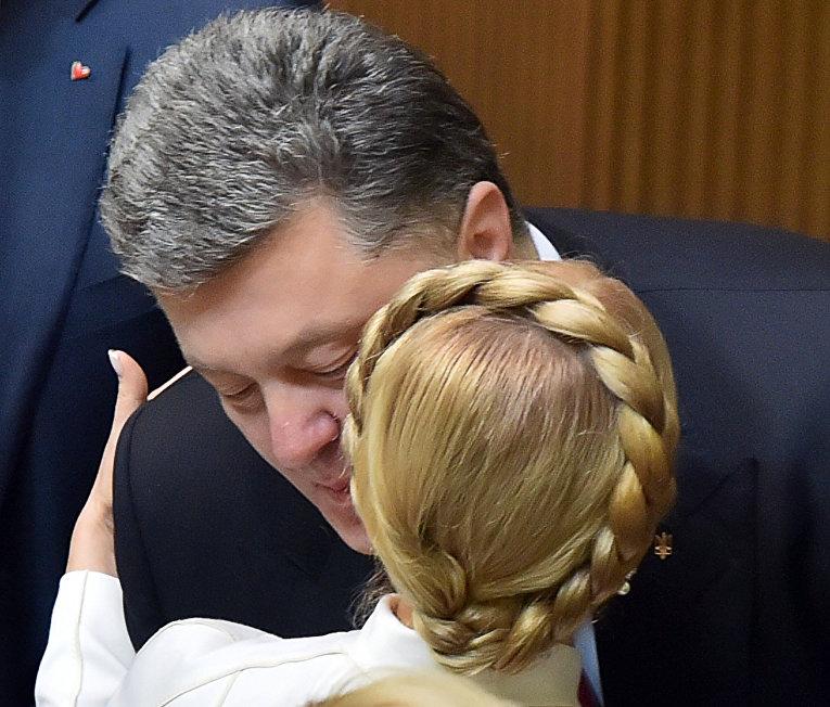 Президент Украины Петр Порошенко и глава партии «Батькивщина» Юлия Тимошенко
