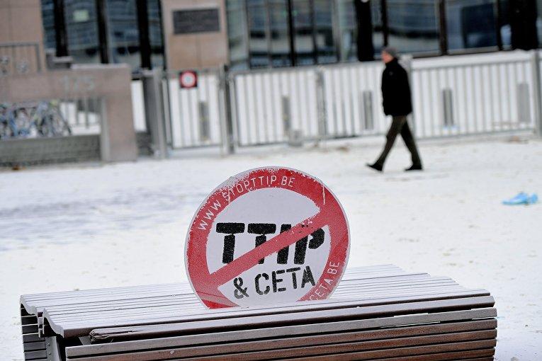 Акция протеста против политики ЕС в молочной отрасли в Брюсселе