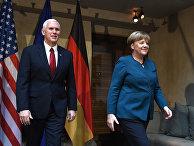 Вице-президент США Майкл Пенс и канцлер Германии Ангела Меркель