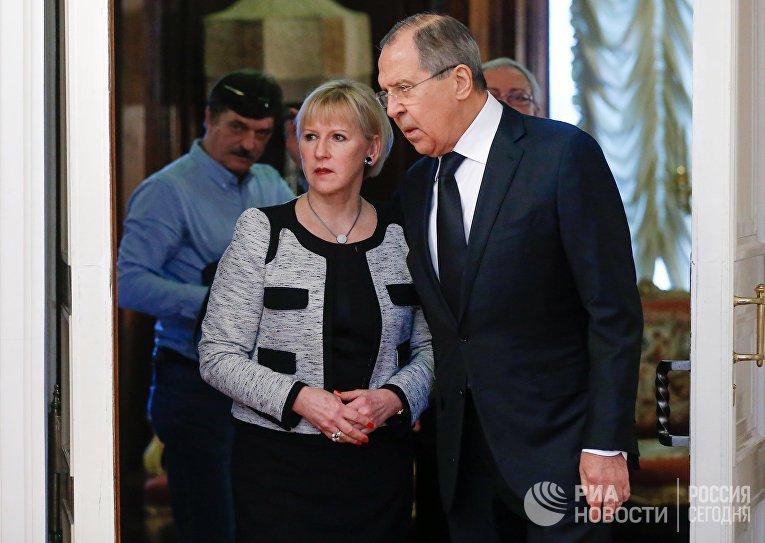 Министр иностранных дел РФ Сергей Лавров и министр иностранных дел Королевства Швеции Маргот Валльстрём