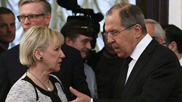 Министр иностранных дел России Сергей Лавров и Министр иностранных дел Швеции Маргот Вальстрем
