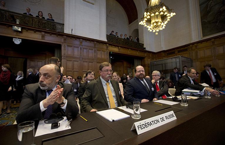 Руководитель юридического департамента Министерства иностранных дел России Роман Колодкин в международном суде в Гааге