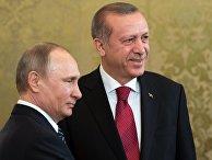 Президент РФ Владимир Путин и президент Турции Реджеп Тайип Эрдоган во время встречи перед началом шестого заседания Совета сотрудничества высшего уровня межд РФ и Турцией