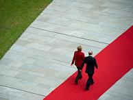 Президент России Владимир Путин и канцлер Германии Ангела Меркель в Берлине