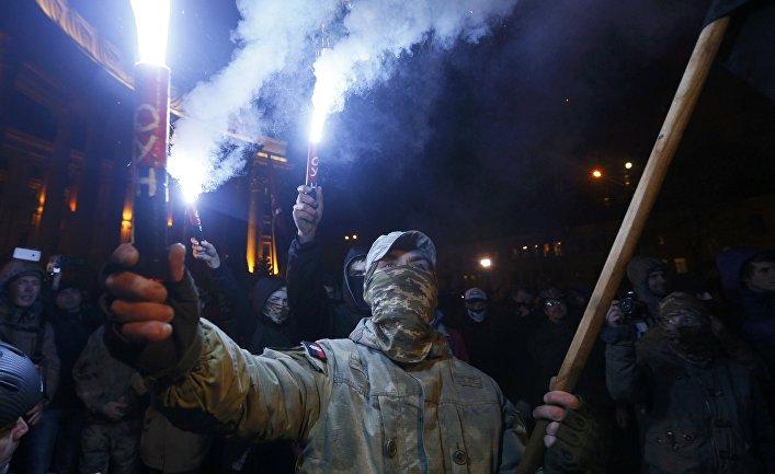 Акция в поддержку участников блокады ДНР в Киеве