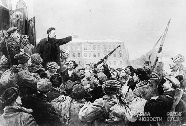 """В. А. Серов """"Выступление М. И. Калинина...""""."""