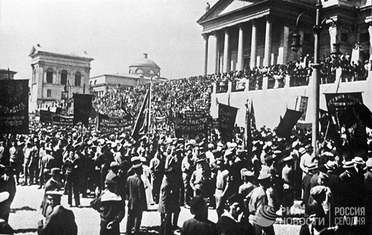 Митинг и манифестация в Гельсинфорсе(Хельсинки) в 1917 году