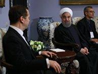 Председатель правительства РФ Дмитрий Медведев и президент Ирана Хасаном Рухани