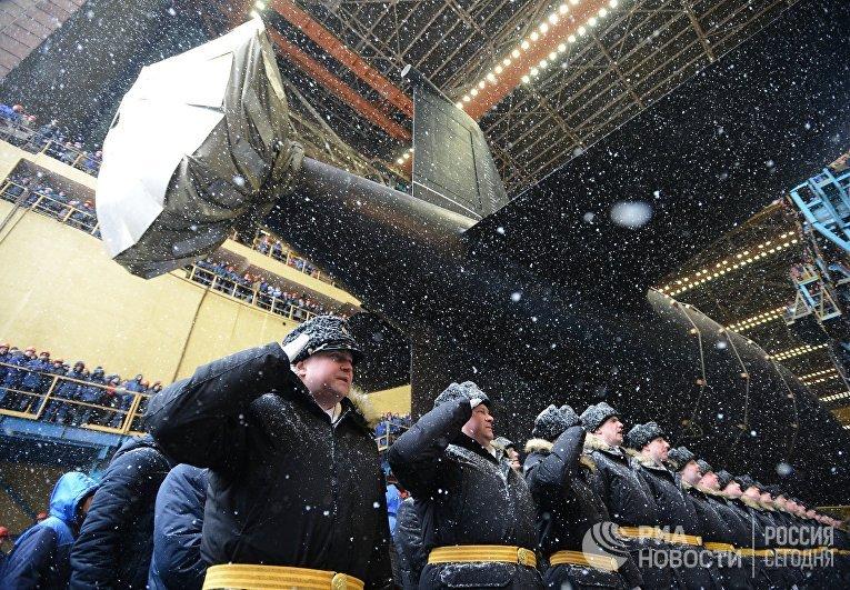 """Спуск на воду атомного подводного крейсера """"Казань"""" ВМФ России"""