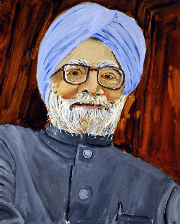 Портрет премьер-министра Индии Манмохана Сингха, Джорджа Буша