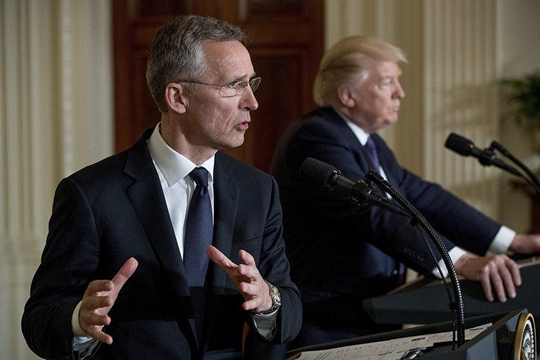 Пресс-конференция президента США Дональда Трампа и генсека НАТО Йенс Столтенберг в Белом доме