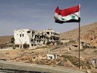 Сирийский флаг на фоне разрушенного дома в сирийском городе Маалюля в 55 км от Дамаска