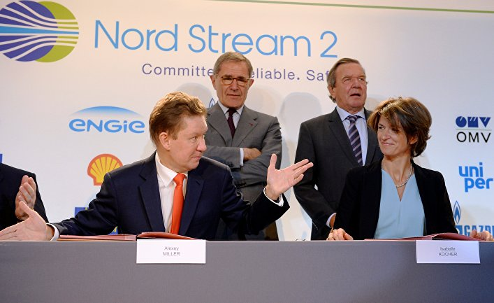 """Подписание соглашения о финансировании """"Северного потока-2"""" между Nord Stream 2 AG и европейскими партнерами в Париже"""