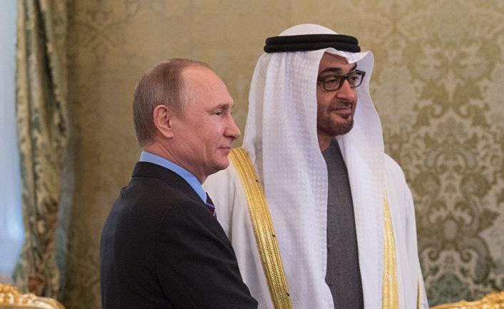 Президент РФ Владимир Путин и наследный принц Абу-Даби Мухаммед Аль Нахайян во время встречи. 20 апреля 2017