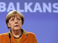 Ангела Меркель выступает на саммите ЕС и трех балканских государств по проблеме беженцев