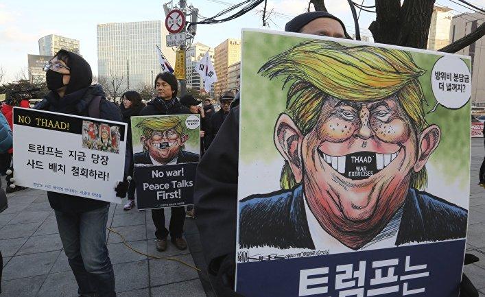 Акция протеста против системы THAAD в Сеуле