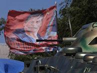 Блокпост пророссйских ополченцев в Карловке рядом с Донецком
