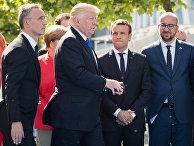 Президент Франции Эммануэль Макрон, премьер-министр Бельгии Шарль Мишель, Генерального секретаря НАТО Йенс Столтенберг
