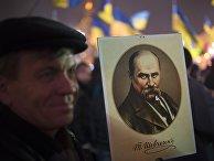 Участник акции сторонников евроинтеграции на Площади Независимости в Киеве