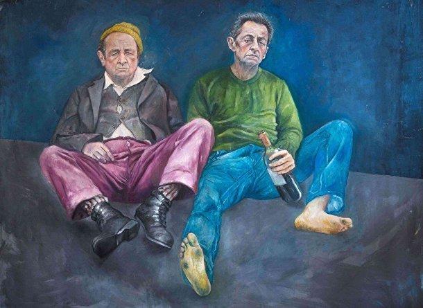 Карикатура на Олланда и Саркози