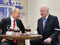 Президент РФ Владимир Путин и премьер-министр Баварии Хорст Зеехофер во время встречи в рамках Петербургского международного экономического форума 2017