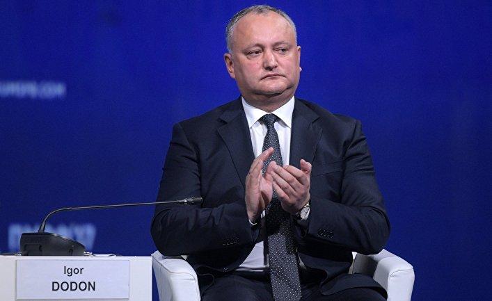 Президент Молдавии Игорь Додон на пленарном заседании Санкт-Петербургского международного экономического форума 2017