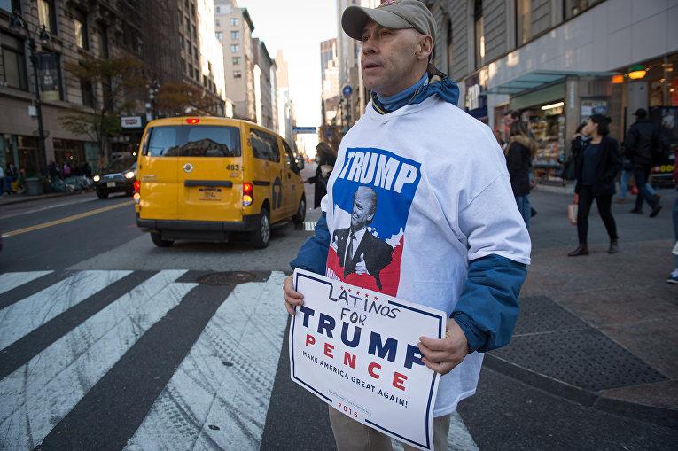 Сторонник Дональда Трампа в Нью-Йорке