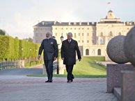 Президент РФ Владимир Путин и премьер-министр Индии Нарендра Моди во время прогулки в Константиновском дворце в Стрельне. 1 июня 2017