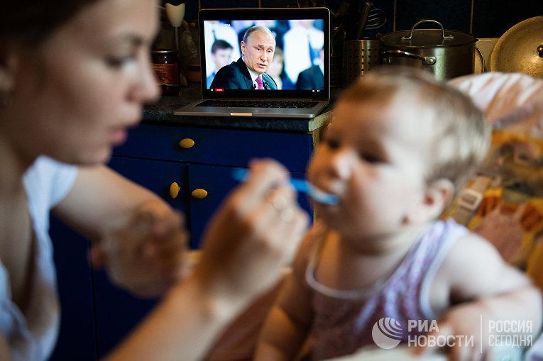 Во время трансляции «Прямой линии с Владимиром Путиным» в Омске