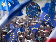 Акция протеста сторонников ЕС на площади Гете во Франкфурте-на-Майне