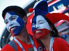 Болельщики сборной Чили перед началом матча Кубка конфедераций-2017