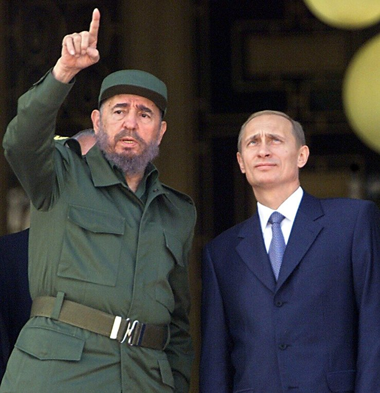 Президент Кубы Фидель Кастро и президент России Владимир Путин