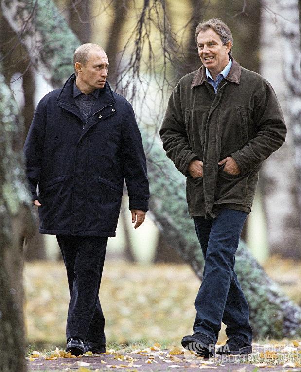 Президент РФ Владимир Путин и премьер-министр Великобритании Тони Блэр