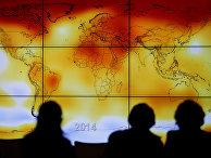 Карта мира с климатическими аномалиями в ходе Всемирной конференции по изменению климата 2015 в Ле Бурже