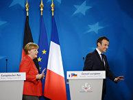 Канцлер ФРГ Ангела Меркель и президент Франции Эммануэль Макрон на саммите государств и правительств стран-участниц Европейского союза в Брюсселе. 23 июня 2017