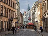 Улица Пилс и Церковь Скорбящей Богоматери в Риге, Латвия